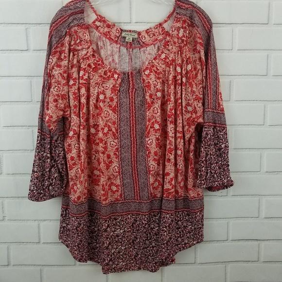 b2a5c36ca07 Lucky Brand Tops | Boho Tunic Floral Print Plus Size 2x | Poshmark